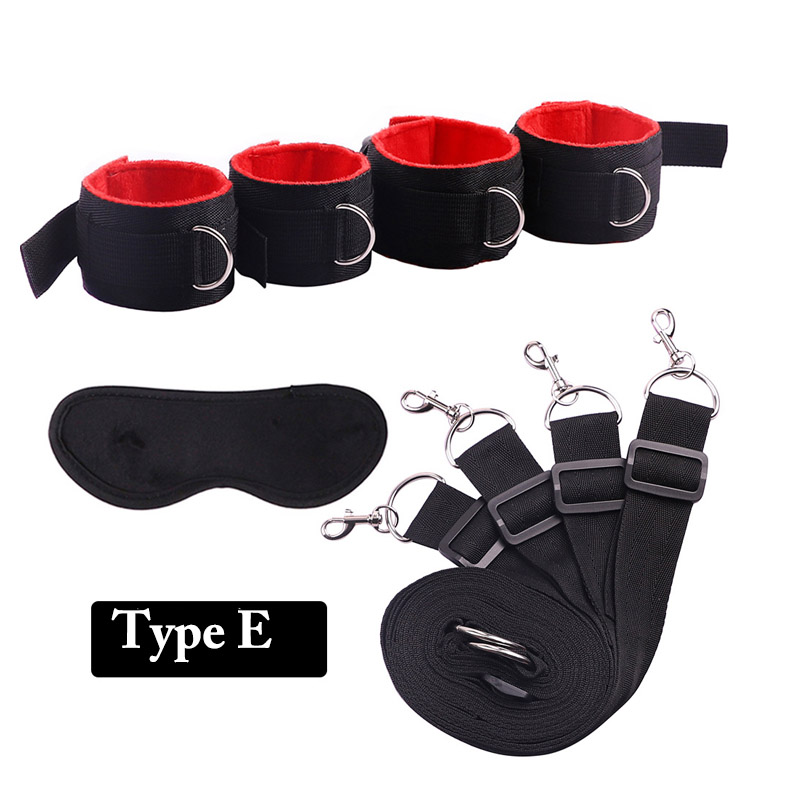 Handcuffs & Ankle Cuffs Under Bed Restraints System BDSM Bondage Belt Fetish,Adult Slave Game Set Sex Products,Sexo Toy for Coup