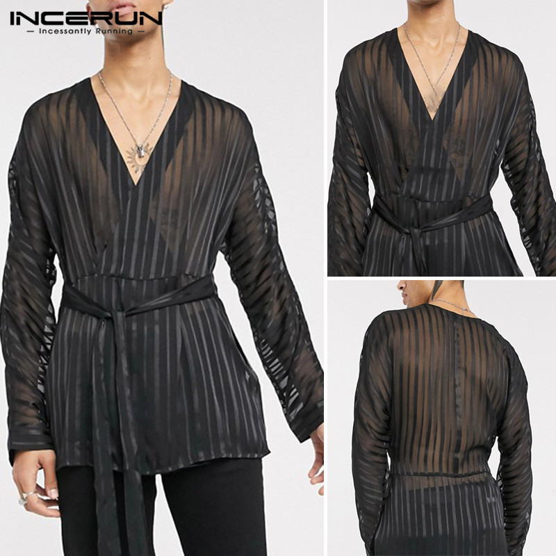 INCERUN Fashion Men Mesh Shirt Sexy Deep V Neck Long Sleeve Solid Color Transparent Tops With Belt Party Nightclub Shirts 2020 image