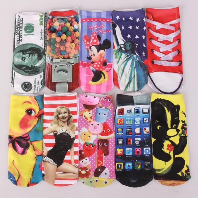 20 PCS = 10 Pairs Women Funny Socks Cute 3D Print Socks Women Ankle Socks Unisex Socks