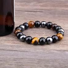 Mode Natürliche Tiger Eye Stein Armband Triple Schutz Hämatit und Schwarz Obsidian Armband Männer Schmuck Armband