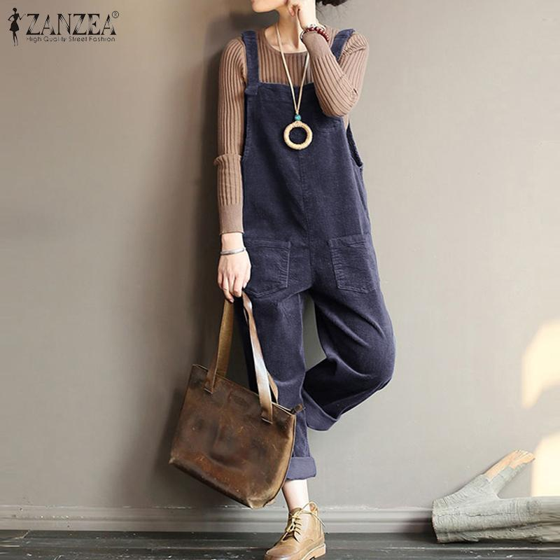 Vintage Suspender Rompers ZANZEA Casual Corduroy Pants Solid Turnip Jumpsuits Women Long Overalls Playsuits Female Pantalons