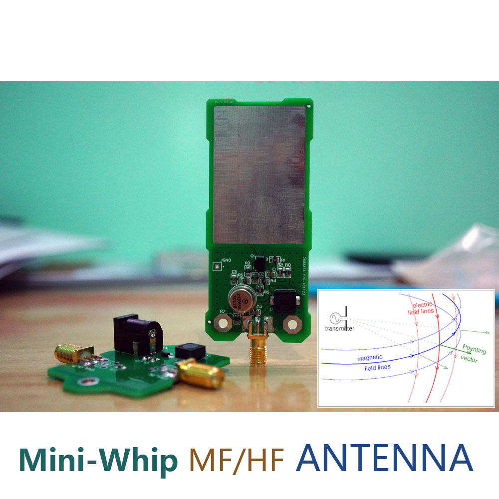 Mini-Whip MF/HF/VHF SDR Antenna MiniWhip Shortwave Active Antenna For Ore Radio, Tube (Transistor) Radio, RTL-SDR Receive Hackrf