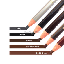 12pcs Waterproof Microblading 1818 Eyebrow Pencil Peel-off White Black Grey Brown Light Natural Color