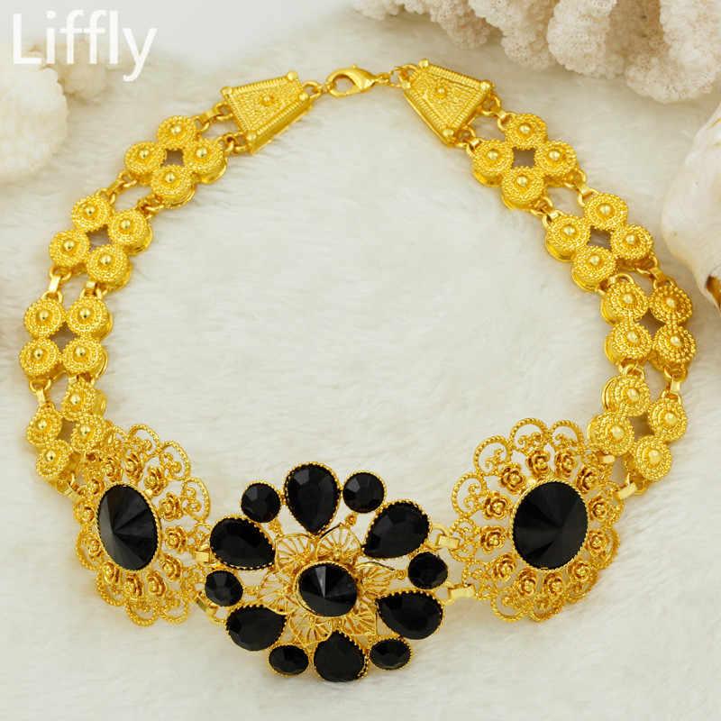 Liffly Bridal Jewelry Set Nigerian Wedding Dubai Gold Jewelry Sets for Women African Big Flowers Necklace Earrings Jewellery