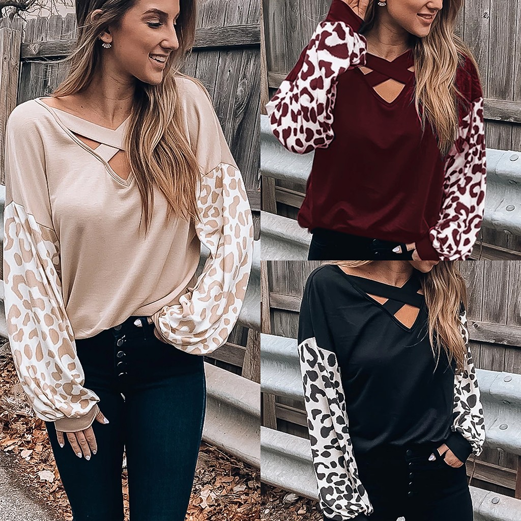 Long Sleeve Leopard Stripes Blouse