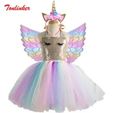 Girls Unicorn Tutu Dress With Gold Headband Wings Kids Sequin Princess Party Children Costumes