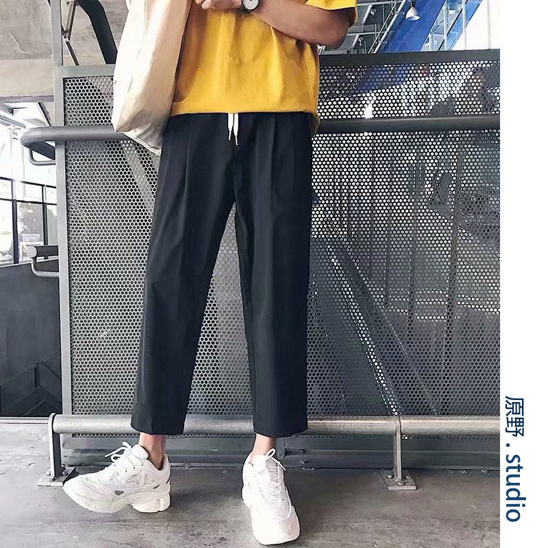 2020 Spring And Autumn Capri Pants Trend Men 9 Points Casual Pants Hong Kong Style Versatile Loose-Fit Pants BF Style Straight-L