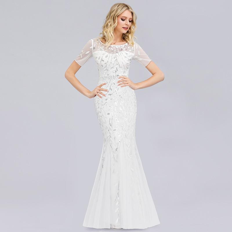 Dressv White Scoop Neck Short Sleeves Elegant Evening Dress Mermaid Sequins Floor Length Weeding Party Formal Evening Dresses