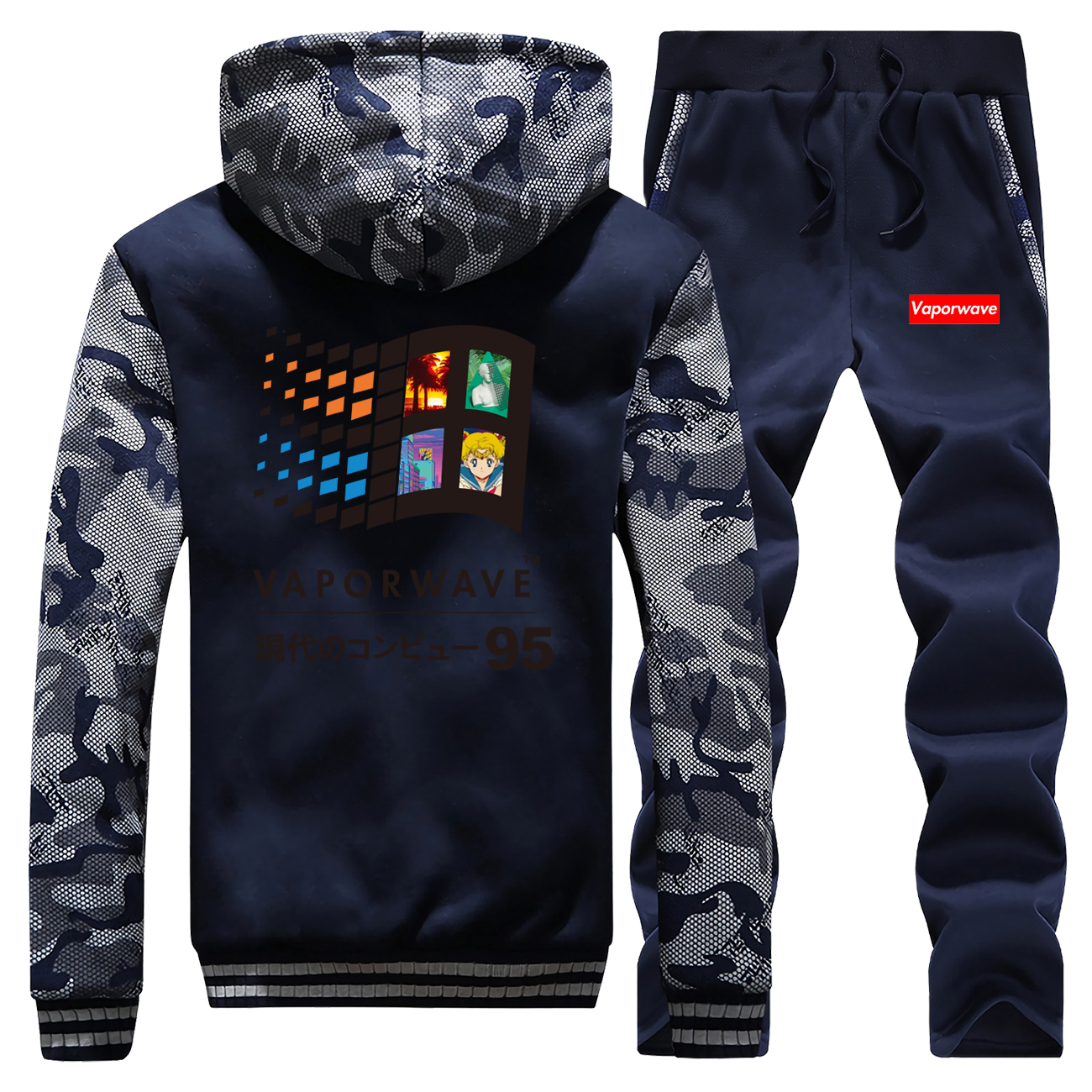 2019 Winter Vaporwave Vintage Retro Anime Aesthetic Warm Jackets Hoody Coat Thick Suit Camouflage Sportswear+2 Piece Set Pants