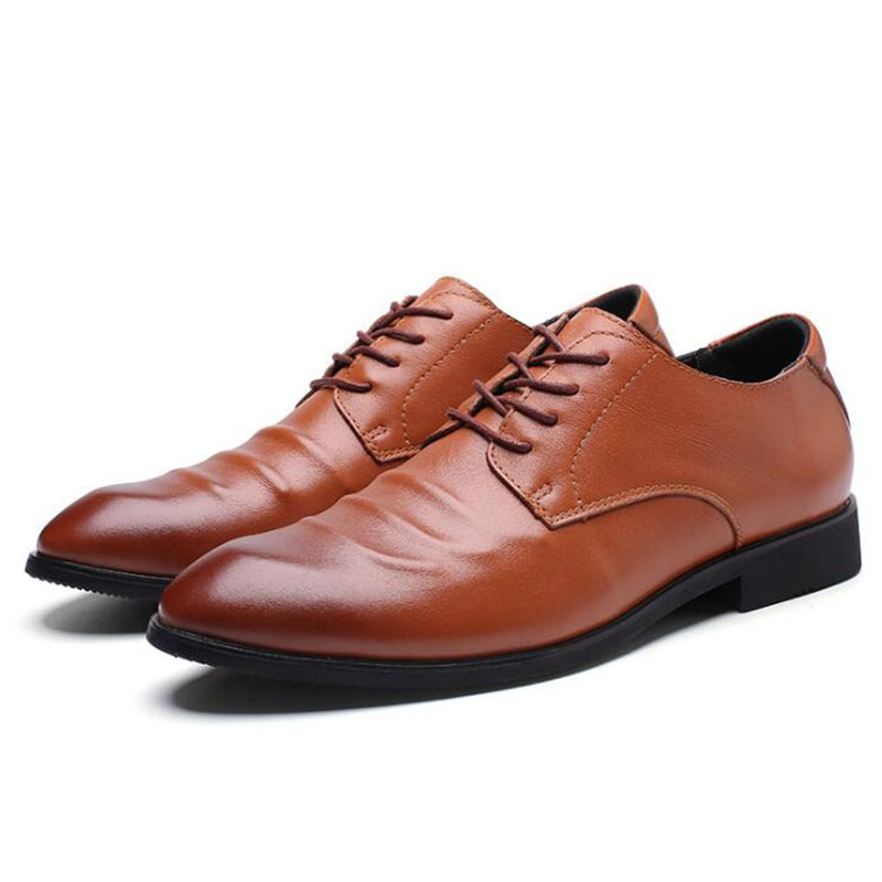 2020 Newest Men Dress Shoes Designer Business Office Lace-Up Loafers Casual Driving Shoes Men's Flat Party Leather Shoes 3 Color