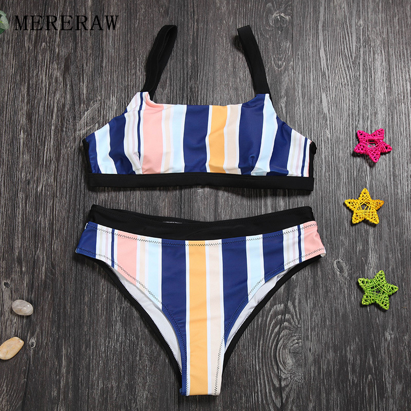European and American sexy split swimwear female stripe was thin hot spring vacation seaside beach swimwear suspenders bikini