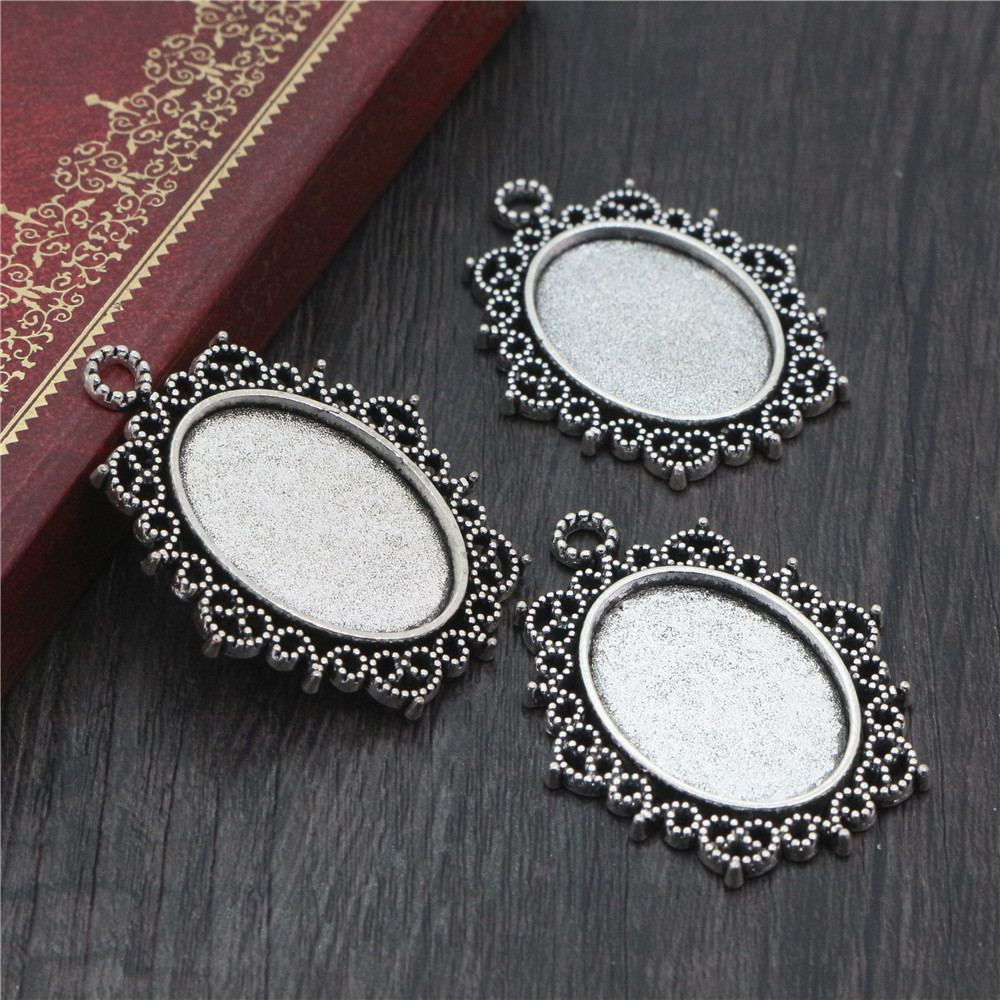 3pcs 18x25mm Inner Size Antique Silver Plated Flowers Style Cameo Cabochon Base Setting Pendant Necklace Findings  (C2-23)