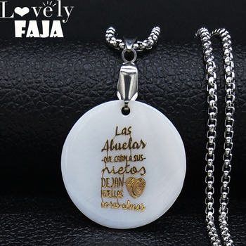 Las Abuelas En y Almas Shell Stainless Steel Chain Necklace Women Grandmother Gold Color Necklace Jewerly collar mujer N19581 image