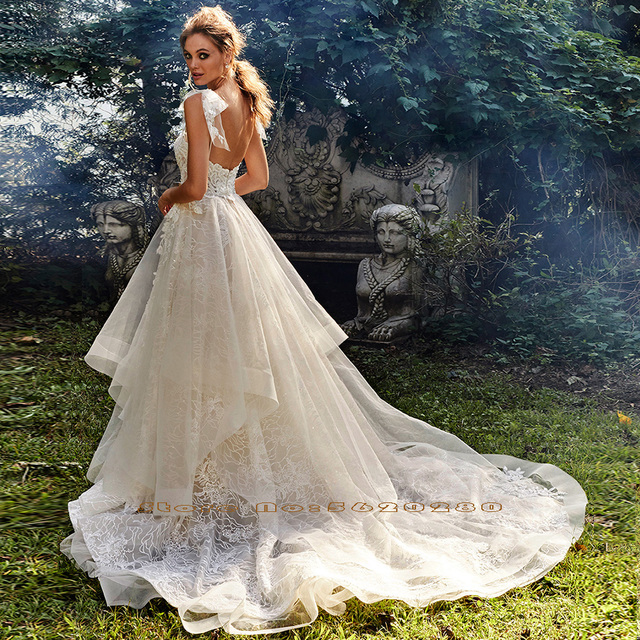Shiny Lace A-Line Wedding Dress Vestidos De Bodas Sweetheart Neck Backless Illusion Bridal Gown Gelinlik 2