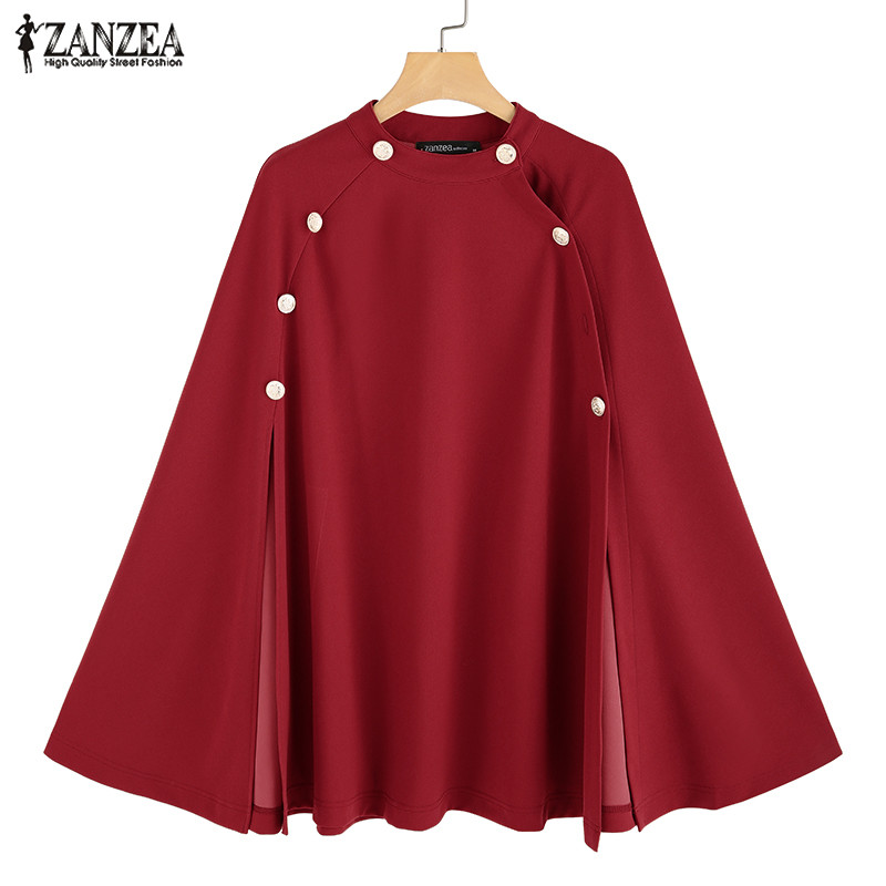 Plus Size ZANZEA Autumn Cape Coats Women Casual Solid Sleeveless Button Split Cloak Kaftan Ponchos Windbreaker Female Pullovers