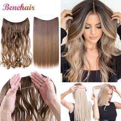 BENEHAIR Invisible Wire No Clips In Hair Extensions Secret Fish Line Hairpieces Synthetic Hair Extensions Fake Hair For Women