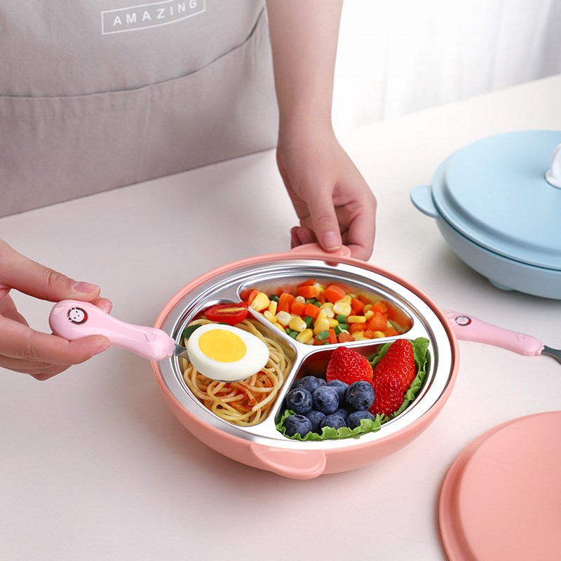 304 Stainless Steel Baby Feeding Training Plate Dishes Kids Tableware Dishes Insulation Anti-scald Hand Dinnerware Creative Gift