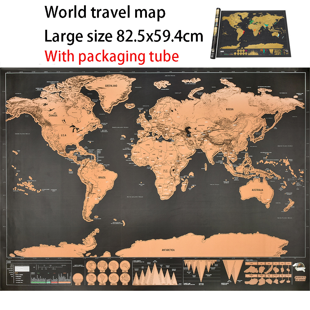 World Travel Map World Map Scratch Card 82.5x59.4cm Family Living Room Decoration Office Wall Sticker