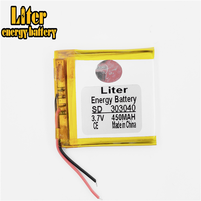 303040 <font><b>3.7V</b></font> <font><b>450MAH</b></font> polymer li-ion battery rechargeable battery 303040 MP3/4/5 bluetooth monitor walkie-talkie batteries image
