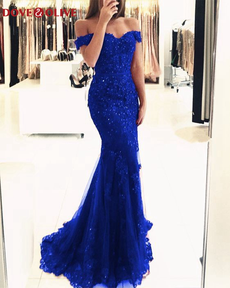 Royal Blue Mermaid Evening Dresses 2020 New Women Boat Neck Appliques Lace Formal Party Elegant Off Shoulder Long Robe De Soiree
