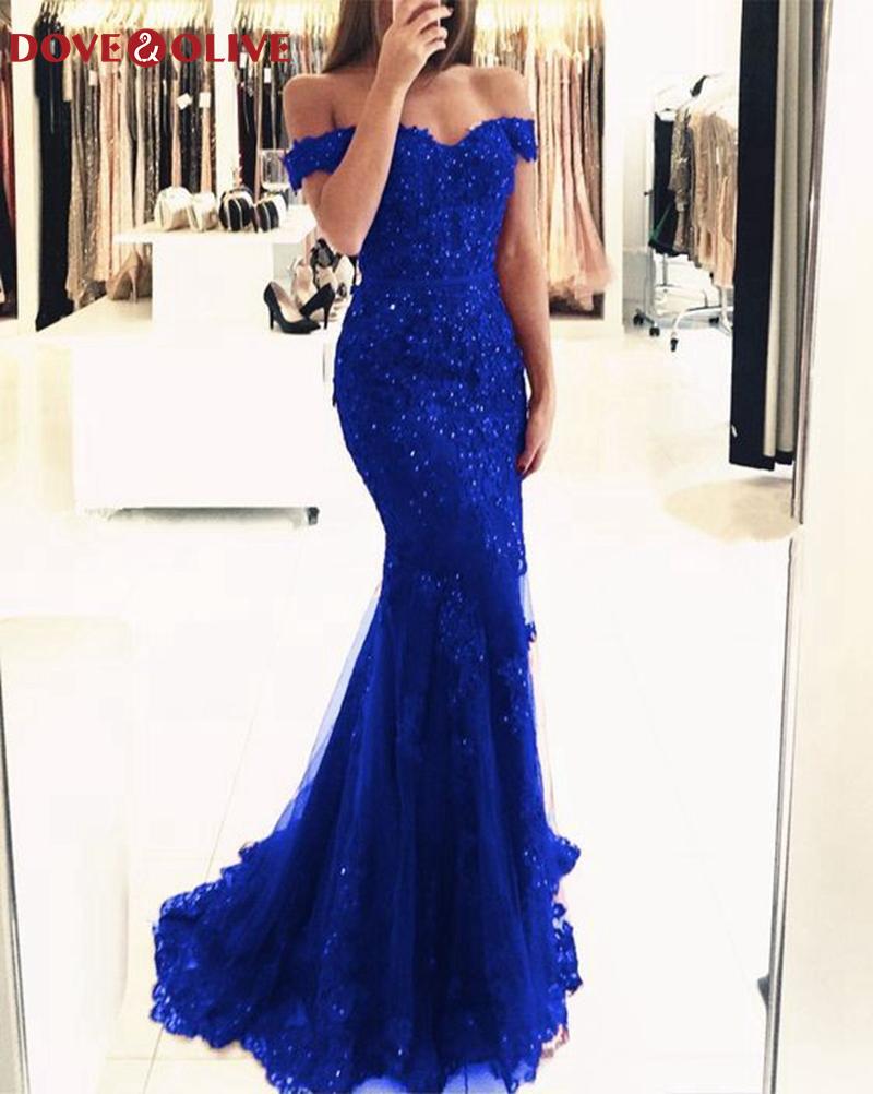 Royal Blue Mermaid Evening Dresses 2020 New Women Boat Neck Appliques Lace Formal Party Elegant Off Shoulder Long robe de soiree
