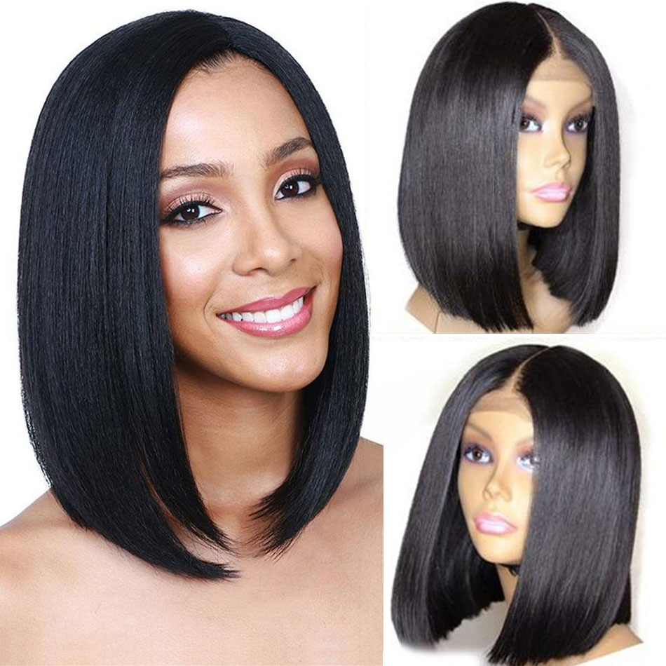 Liddy 13*4 Straight Short Bob Wigs Brazilian Lace Front Human Hair Wigs 100% Human Hair Wigs Natural Color Non-remy Wigs