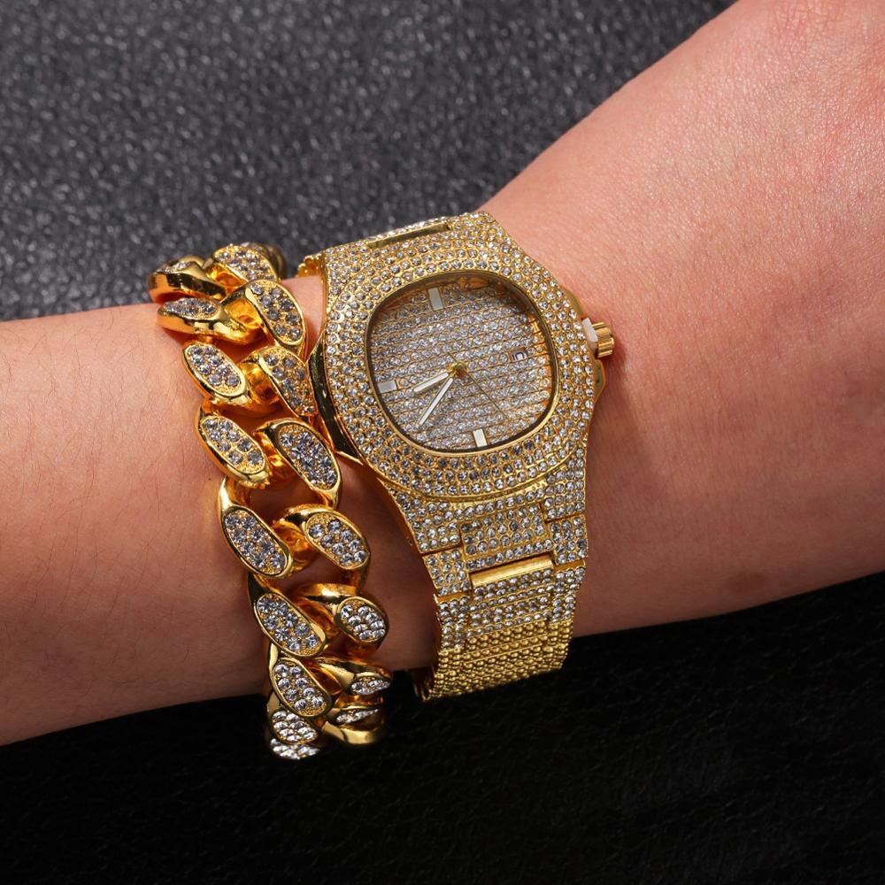 20mm grand large chaîne cubaine collier Bracelet et montre 3 pièces hommes Hip Hop bijoux ensemble or argent Rose - 4