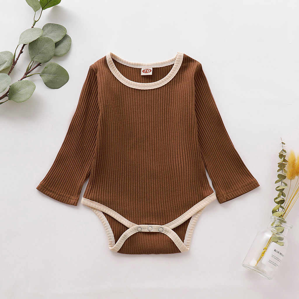 Newborn Baby Girl Boy Clothes Solid Long Sleeve toddler knitted Romper Infant ribbed baby clothes jumpsuit baby girl onesie 2019