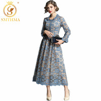 SMTHMA HIGH QUALITY New Fashion Runway winter round neck Lace Long Dress Women's Long Sleeve Party Dress size S XXL