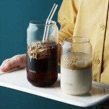 Cola банка Стеклянная кружка для завтрака, молока, кофе, сока прозрачная простая буква термостойкая стеклянная кружка домашняя посуда для напитков INS подарок