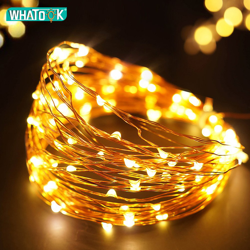 2M 5M 8M Copper Wire LED String Lights Fairy Garland Lights Outdoor Waterproof Holiday LED Strip Lighting Christmas Party Decor