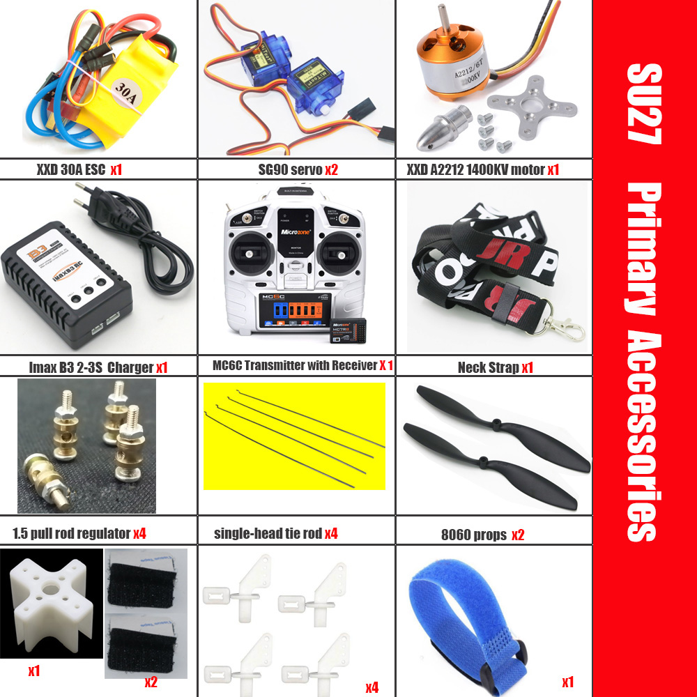 Microzone MC6C Transmitter with Receiver and Structure Parts For Fixed Wing Model Su27 RC Airplane
