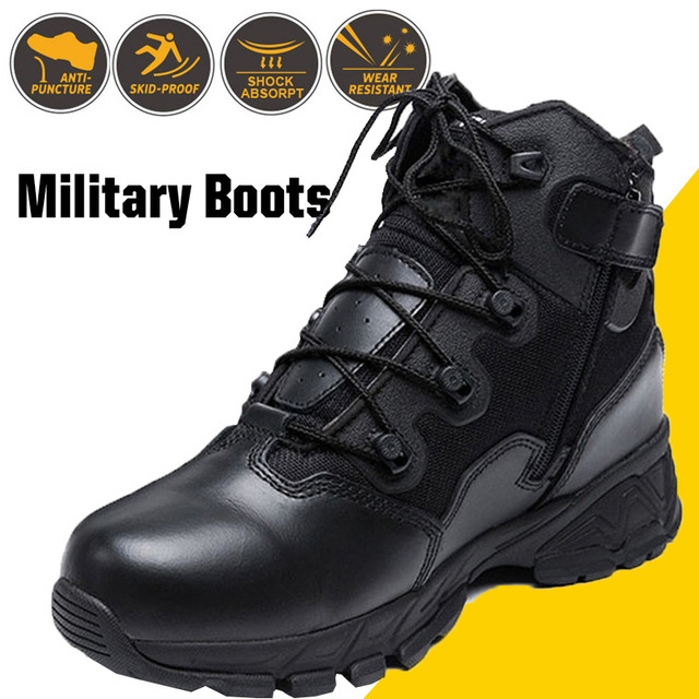 Military Combat Boots For Men Desert Genuine Leather Tactical Army Ankle Boots Casual Breathable Zipper Man Safety Working Shoes
