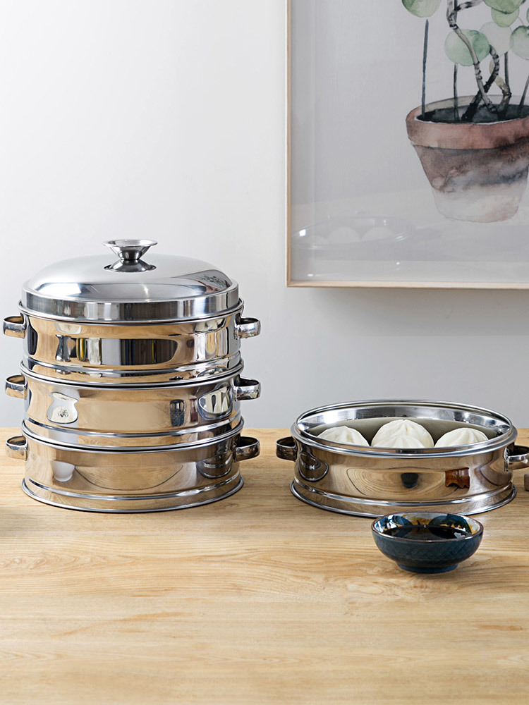 Stainless Steel Three Layers Steaming Basket Cage Frame Household Steamer Pot Thickening Kitchen Round Food Steamed Bun Dish