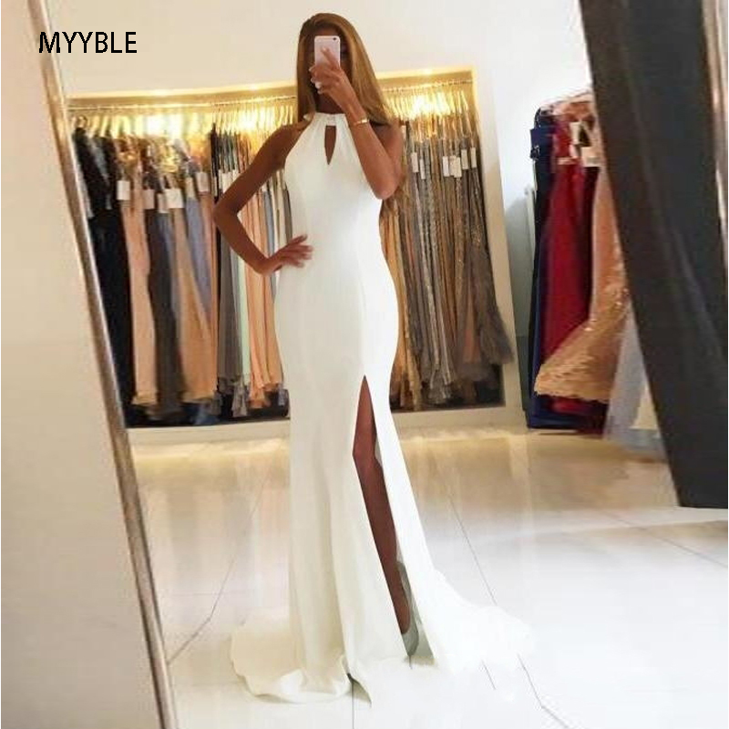 MYYBLE Prom Gowns Custom Made White Halter Evening Gowns Side Slit Sleeveless Simple Open-Back Mermaid Long Formal Party Dresses