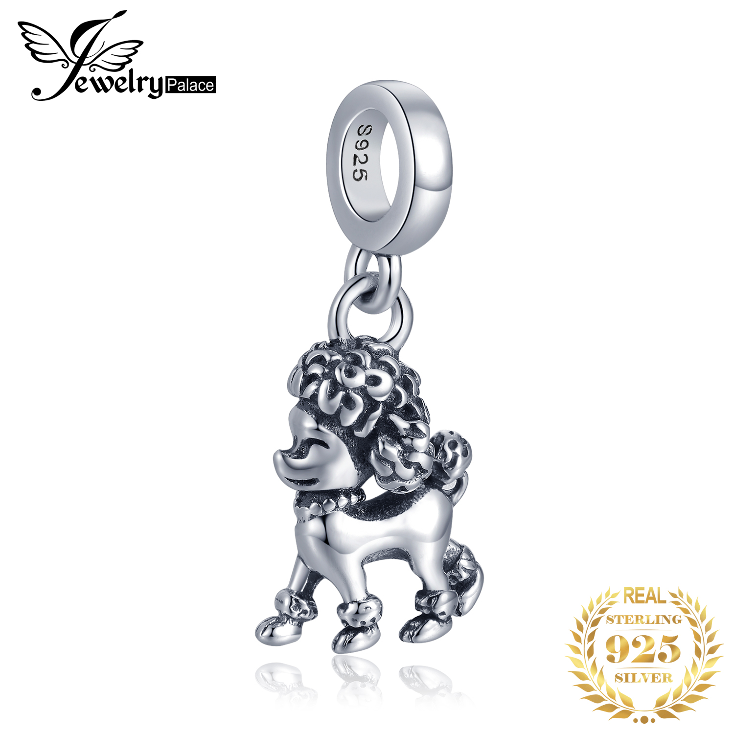 JewelryPalace 925 Sterling Silver Poodle Dog Beads Charms Silver 925 Original Fit Bracelet Silver 925 original Jewelry Making