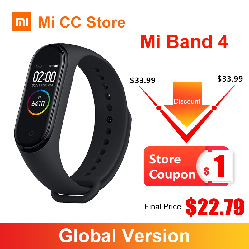 In Stock Xiaomi Mi Band 4 Bracelet 3 Color AMOLED Screen Heart Rate Fitness Tracker Wristband Bluetooth5.0 Waterproof Smart Band