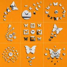 DIY Butterfly Wall Clock Modern Design 3D Acrylic Mirror Watches Diy Clocks Watch Living Room