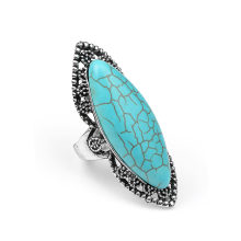 2016 Turquoise Ring For Women Antique Silver Plated Oval Fashion Vintage Jewelry