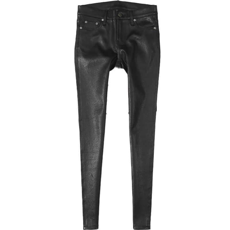 2020 Nuovo Arrivo Del Cuoio Genuino di Stirata Dei Pantaloni Delle Donne Più Il Formato A Vita Alta Nero Lungo Sottile Pantaloni di Pelle Per Le Donne di Alta qualità