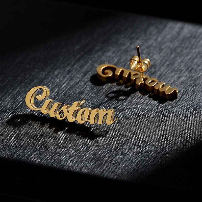 Gold Stainless Steel Personalized Custom Name Earrings For Women Cute Customize Earing Initial Cursive Nameplate Stud Earrings