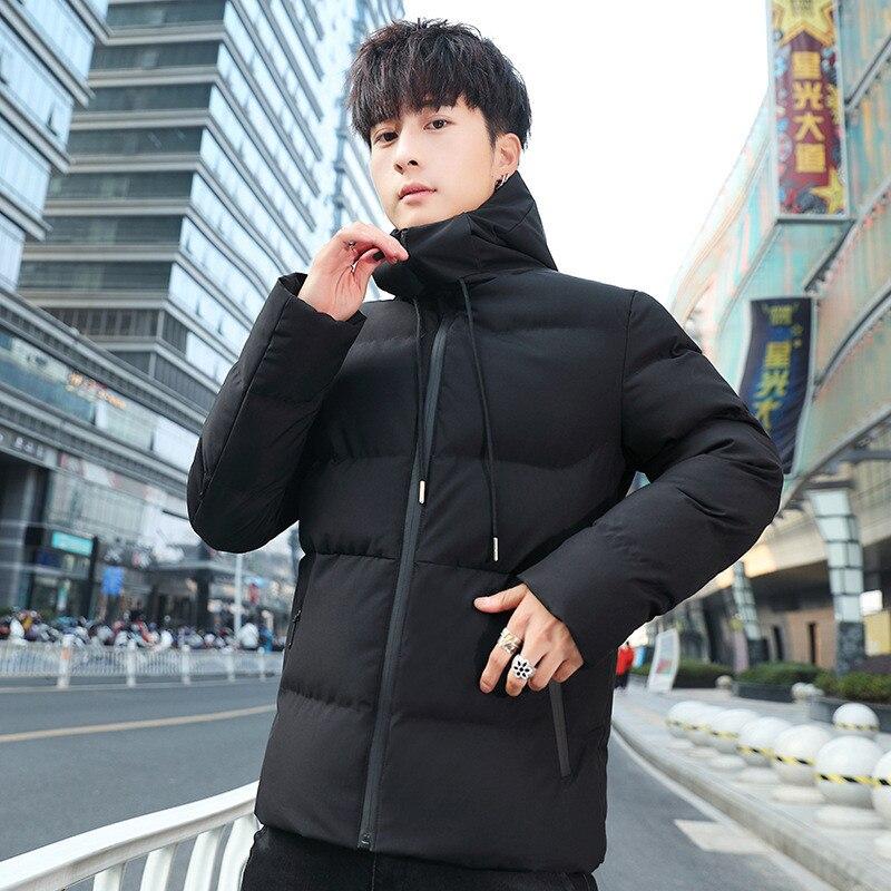 North Winter Jacket Men 2019 New Plus Velvet Padded Parka Korean Face Hooded Warm Long-sleeved Cotton Coat Overcoat Over Size