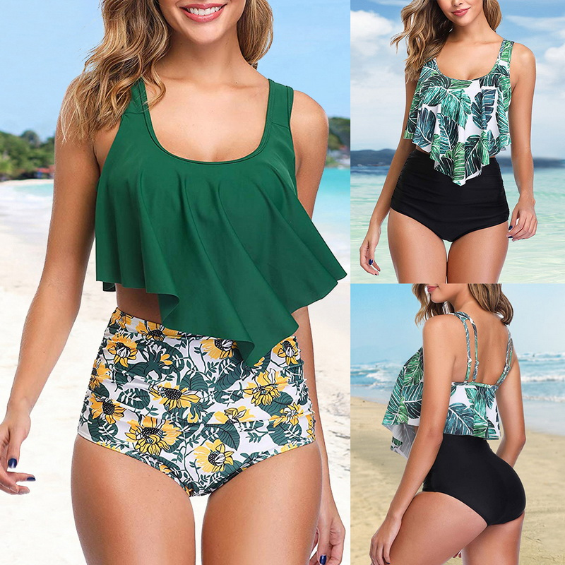 Sfit Plus Size Women Swimwear Bikini 2019 Sexy Retro Ruffle Bikini Set Floral Print Tankini Push Up Swimsuit Mujer Bathing Suit