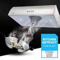 Campana de escape de gran succión de acero inoxidable de alta potencia ultrafina para el hogar pequeña capucha de un solo rango para la cocina D6