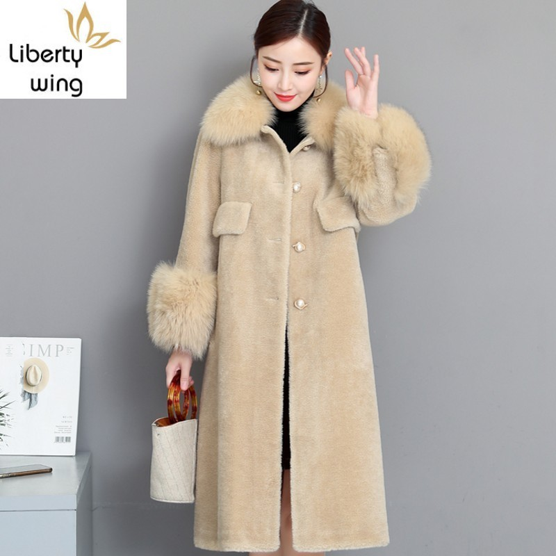 Elegant Sheep Shearing Fur Womens Medium Length Overcoats Faux Fox Collar Single Breasted Winter Warm Coats Plus Size