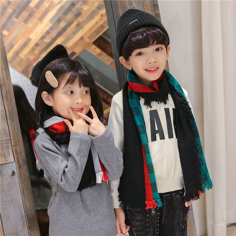Autumn & Winter New Style CHILDREN'S Scarf Men And Women Children Plaid Warming Scarf Parent And Child Scarf