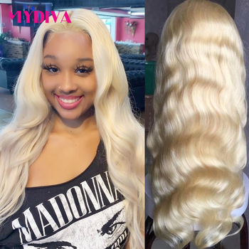 613 Lace Front Wig Pre Plucked Blonde Lace Front Wig Body Wave Glueless 613 Frontal Wig 13*1Remy Human Hair Wig For Black Women image