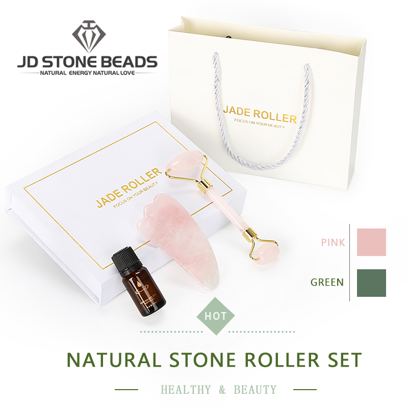 1 Set Jade Facial  Roller With Essential Oil Natural Stone  Massage Tool Gua Sha SPA Therapy Scraping Board Antistress Body Gift
