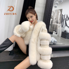 ZDFURS *2019 New Women Mink Fur with Fox Coat  Jacket Winter Ladys Fashion 100% Real Jackets Mixed Luxury