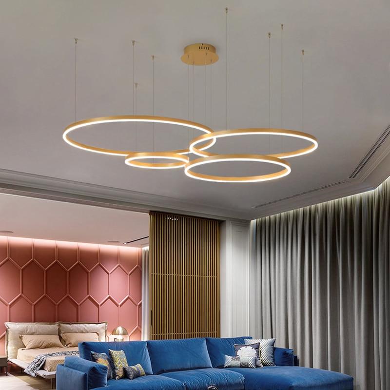 2020 moderno led lustre de iluminação para casa anéis escovado teto montado lustre iluminação pendurado lâmpada ouro e cor café